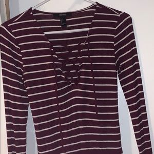 Maroon striped lace up shirt